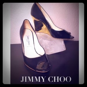 Jimmy Choo Black Patent Leather Gold Mirror Heels